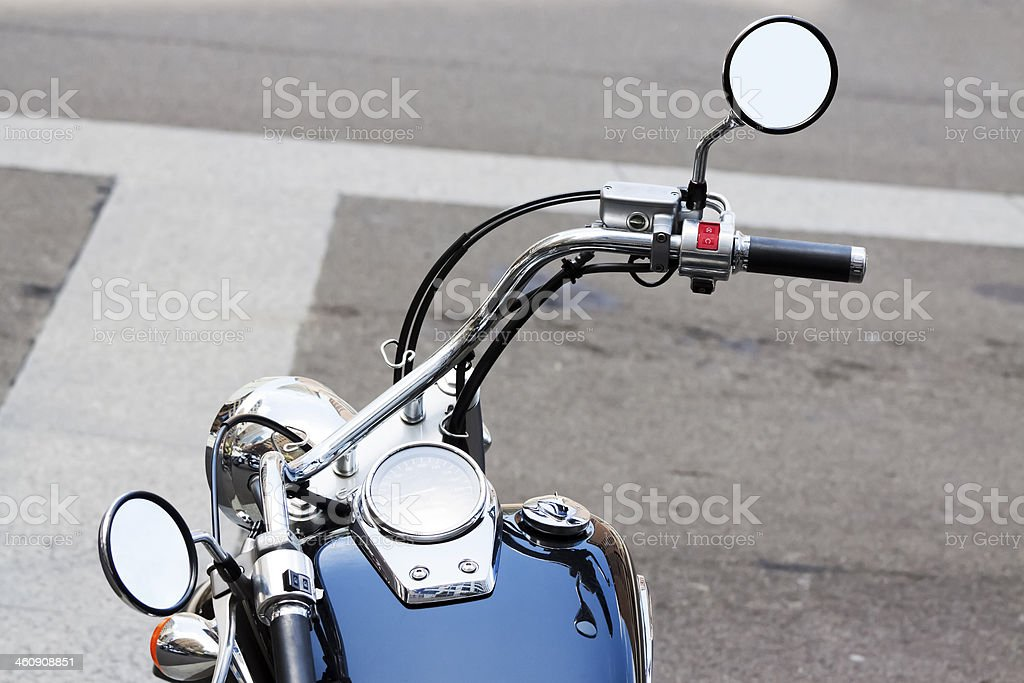 Motorbike handlebars with reversing mirrors, copy space royalty-free stock photo