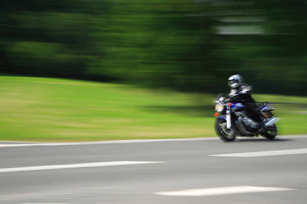 Motorbike in Motion stock photo
