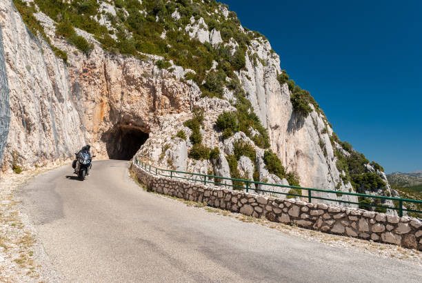 Motorbike in the Route des Cretes, in the region of Alpes-de-Haute-Provence (France) stock photo