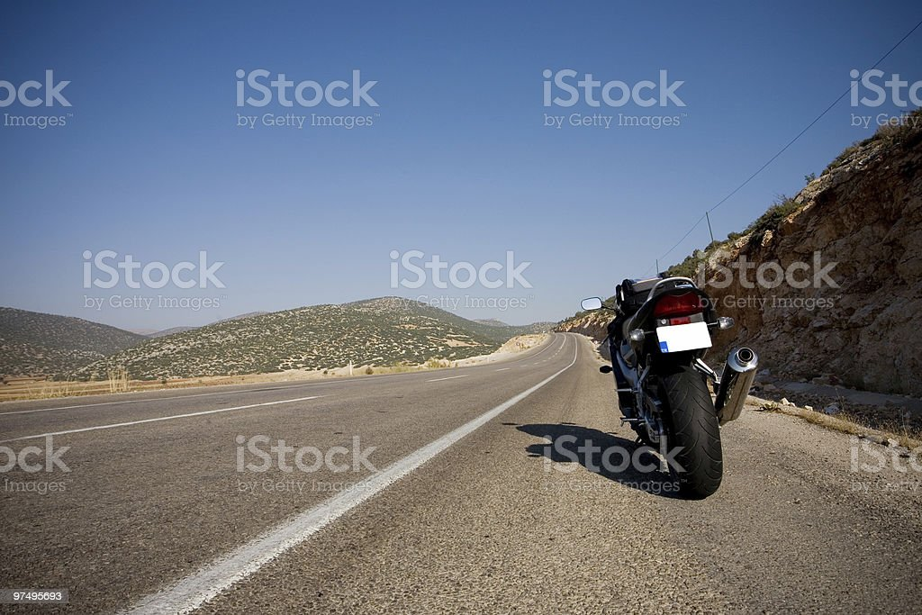 Motorbike on the road royalty-free stock photo