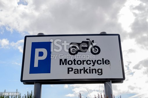 A sign for motorcycle parking only, Essex, UK.