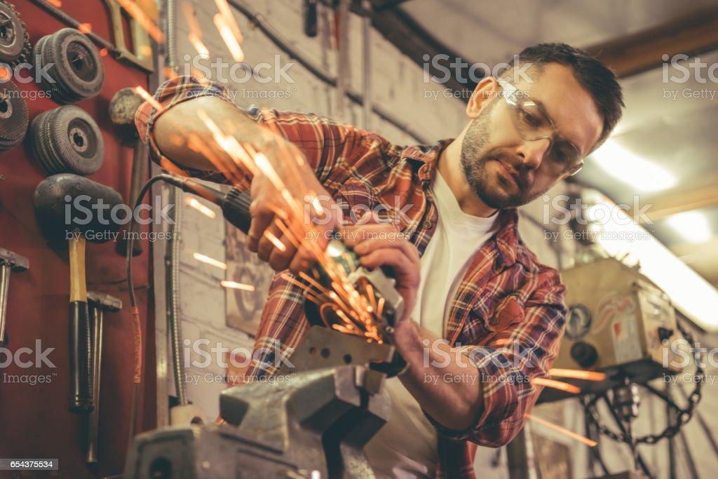 Motorbike repair shop stock photo