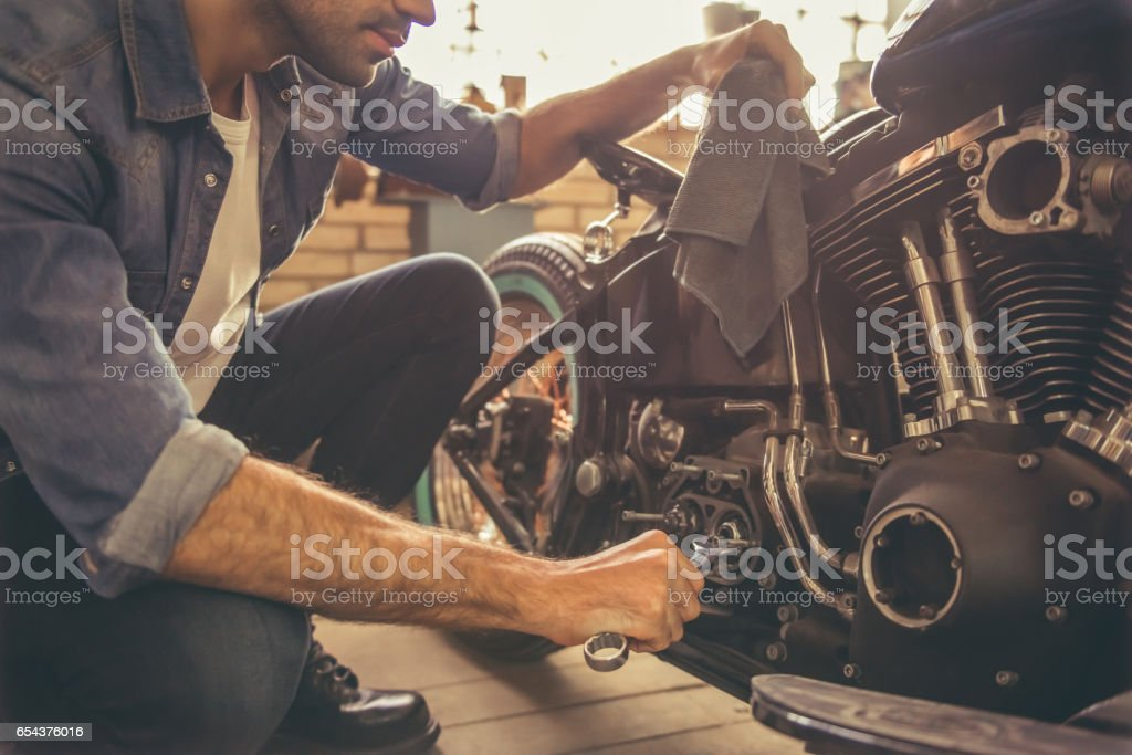 Motorbike repair shop stock photo