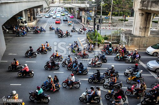 Motorbike traffic in Bangkok - Thailand.  Note for inspectors: cars are heavily edited