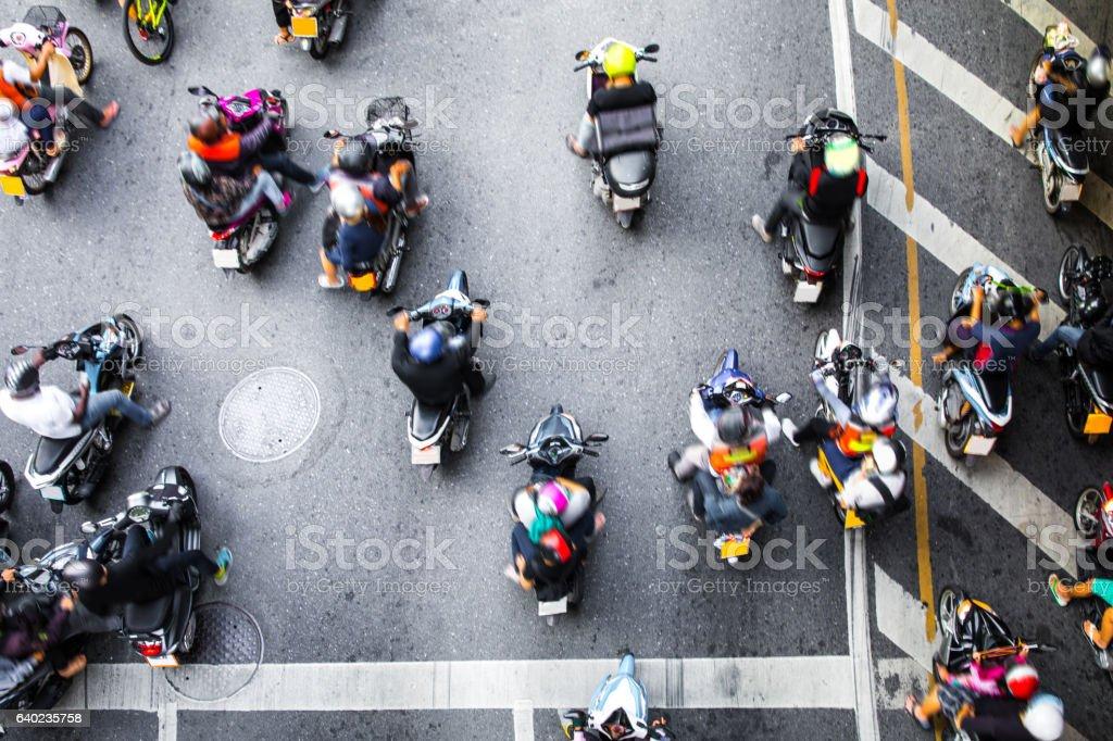 Motorbike traffic in Bangkok - Thailand圖像檔