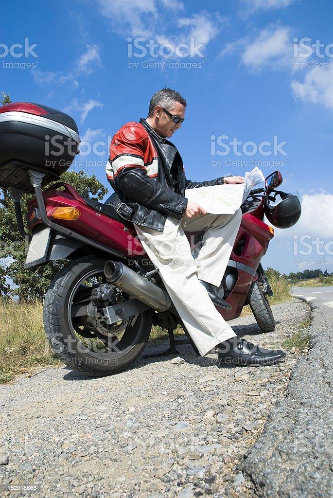 Motorbiker in travel royalty-free stock photo