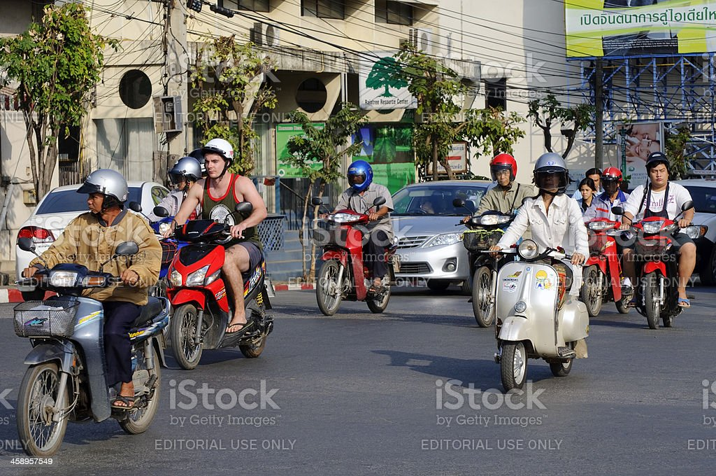 Motorbikes in Chiang Mai, Thailand stock photo