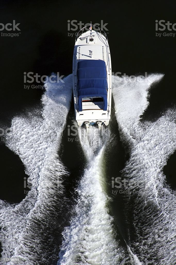 Motorboat And Wake royalty-free stock photo