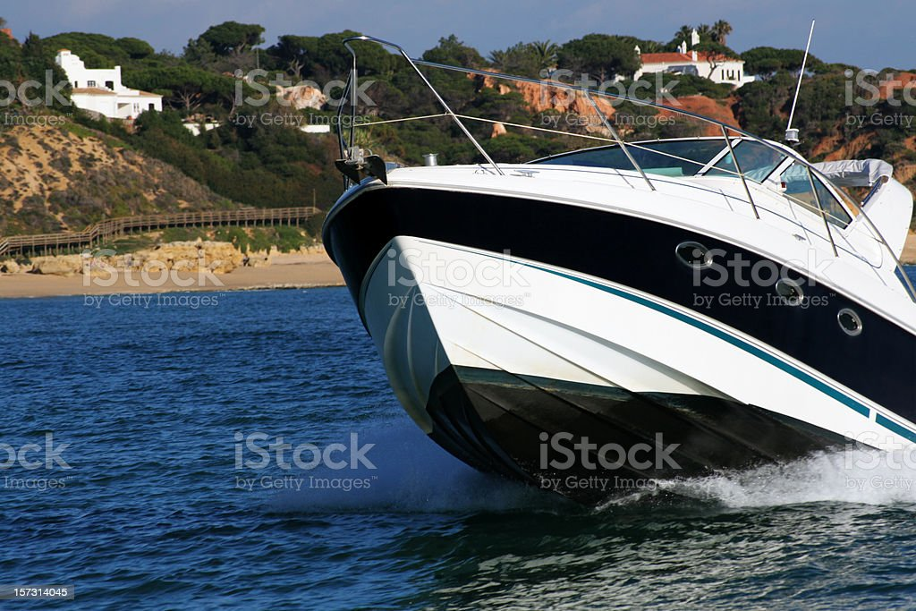 Motorboat approaching starboard royalty-free stock photo