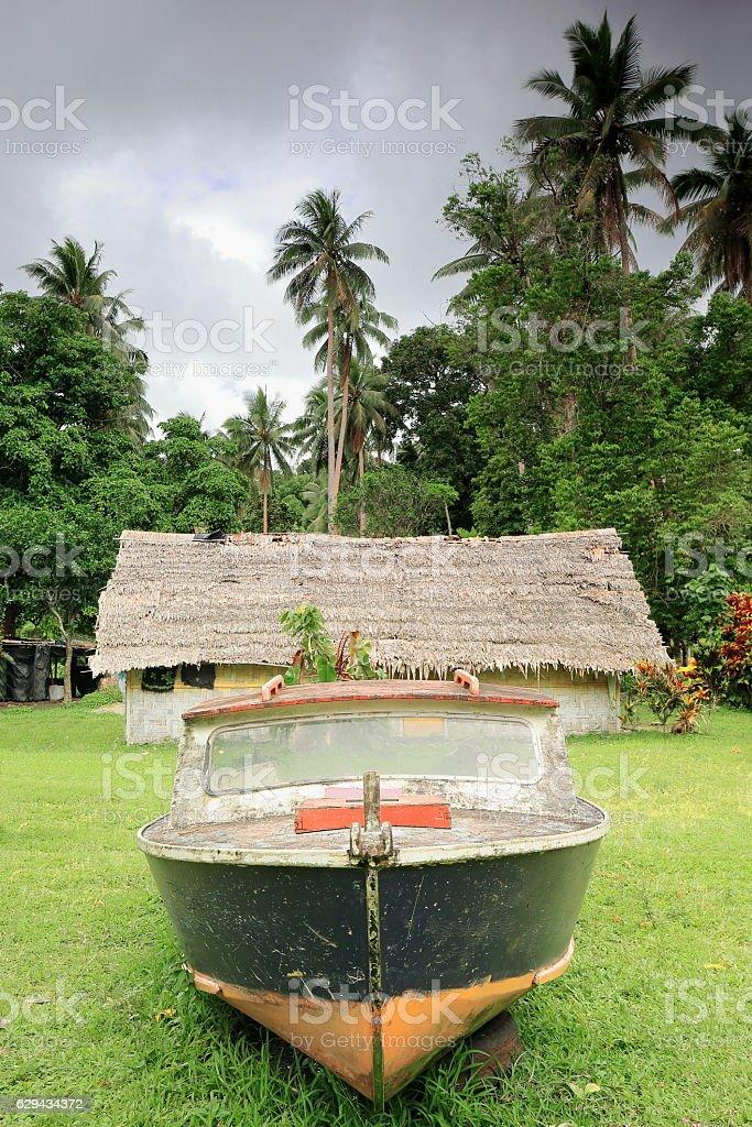 Motorboat ashore on a house garden. Panngi-Pentecost island-Vanuatu. 6366 stock photo