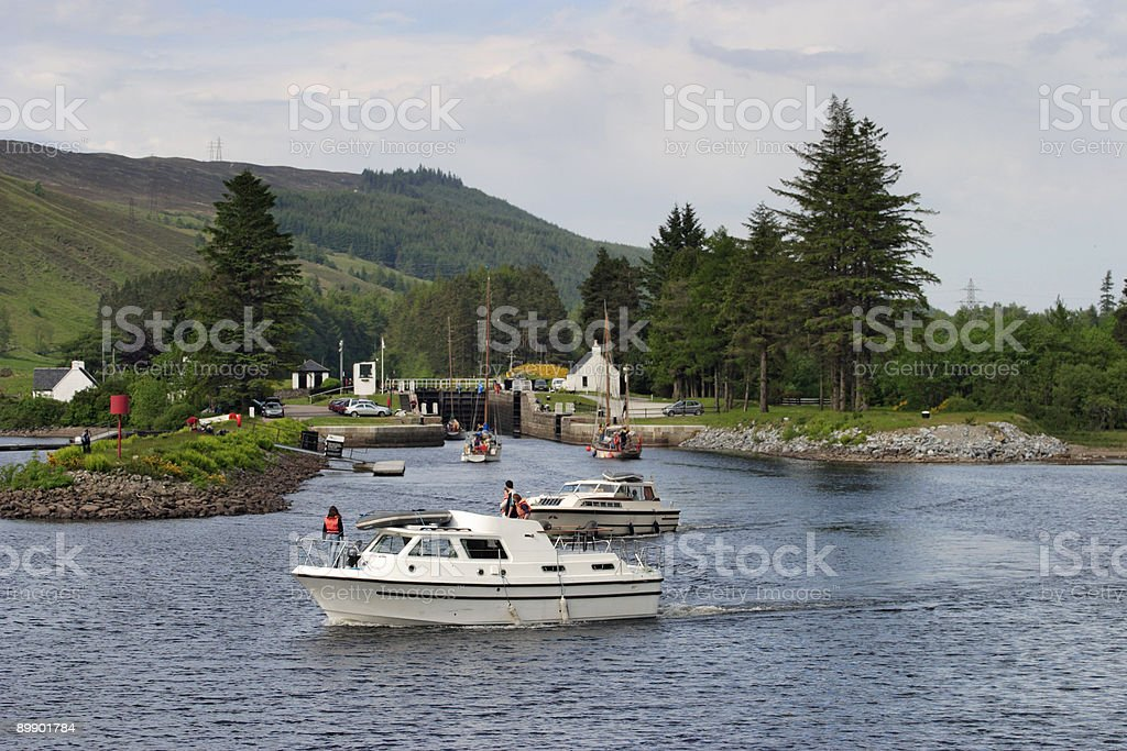 Motorboat at the canal royalty-free stock photo