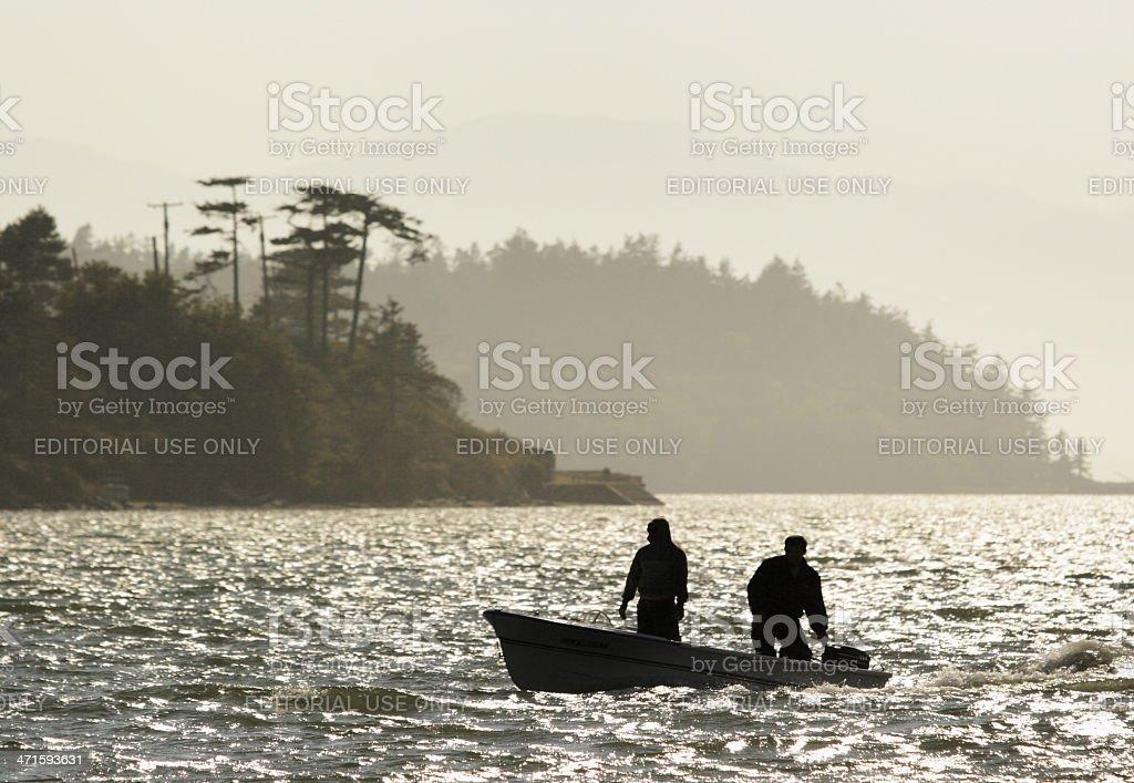 Motorboat Fisherman Fishing Sportsmen stock photo