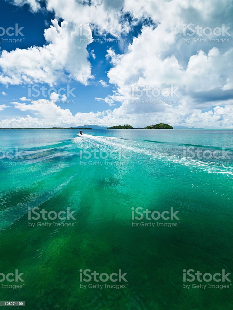 Motorboat in Lagoon royalty-free stock photo