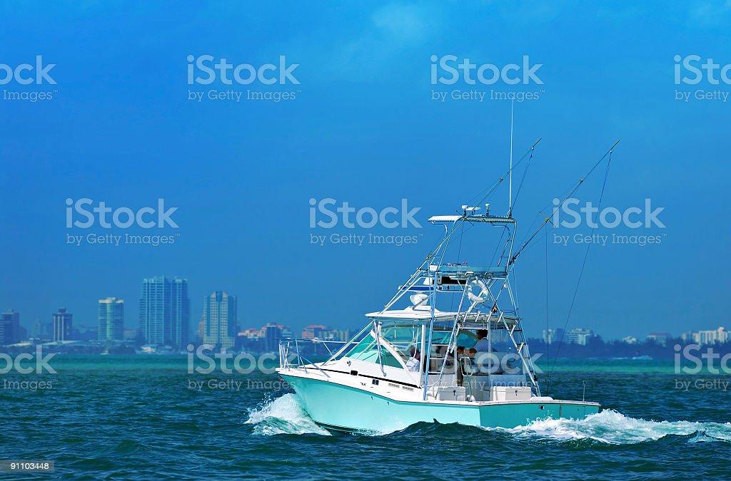 motorboat in miami stock photo