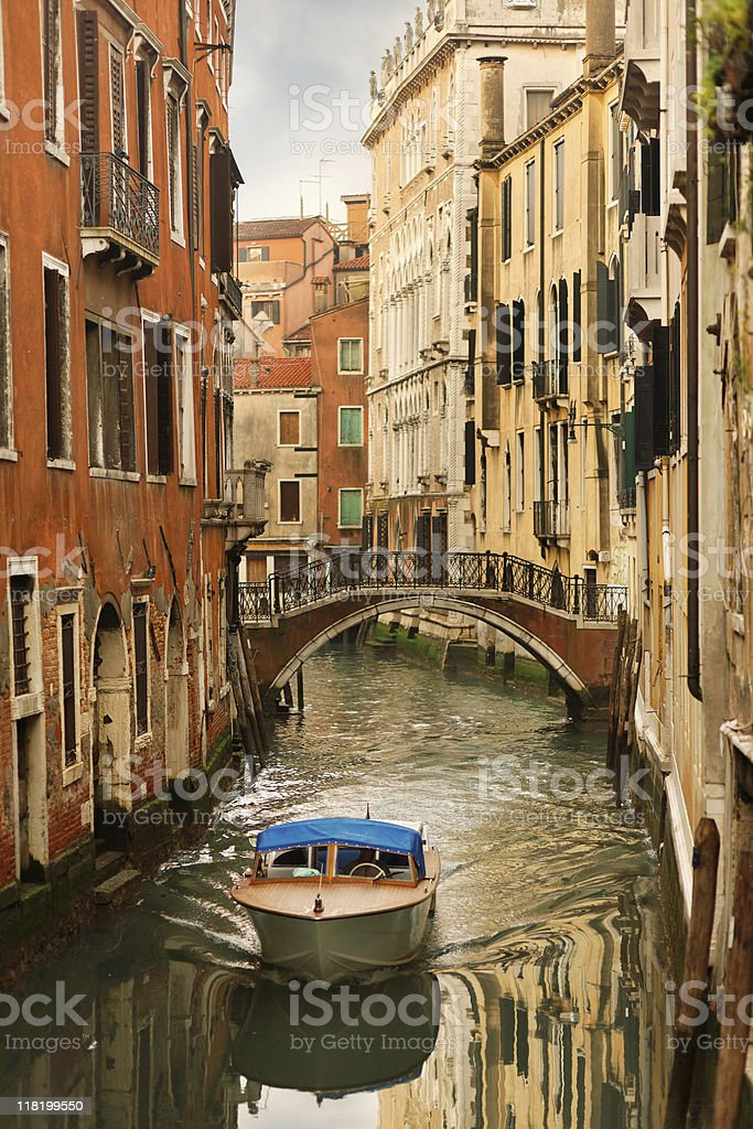 Motorboat in Venice royalty-free stock photo