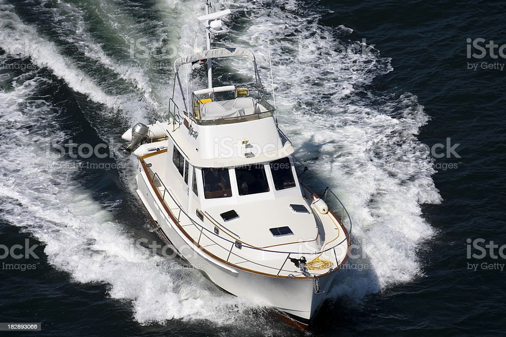 Motorboat  makes a splash stock photo