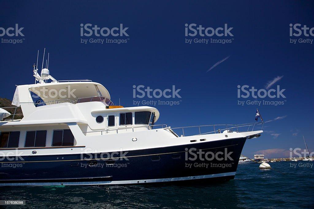 Motorboat Moored at Catalina Island stock photo
