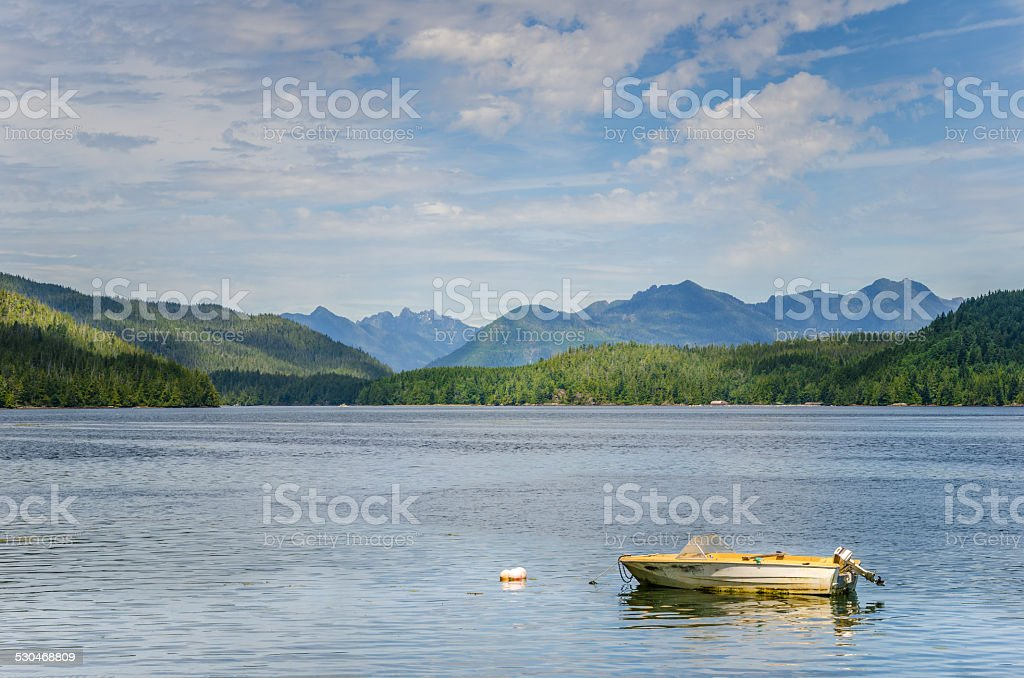Motorboat Moored in Calm Water stock photo