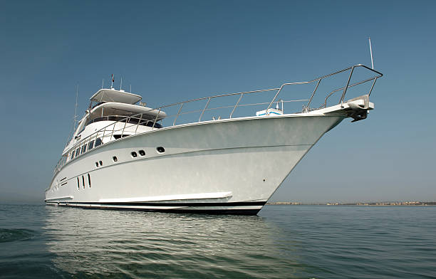 motorboat - yacht front view stock photos and pictures