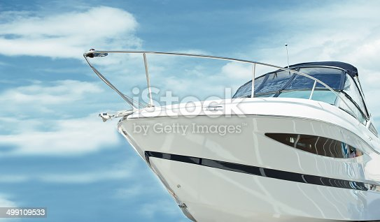 Element of the motor boats on background sky