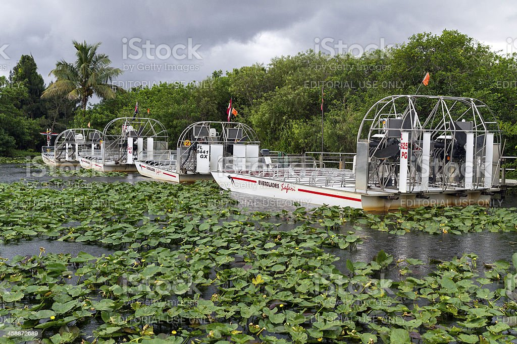 Motorboats at the Everglades National Park stock photo