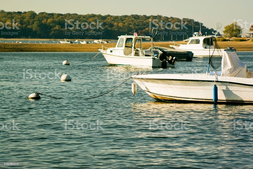 Motorboats on the moorage stock photo
