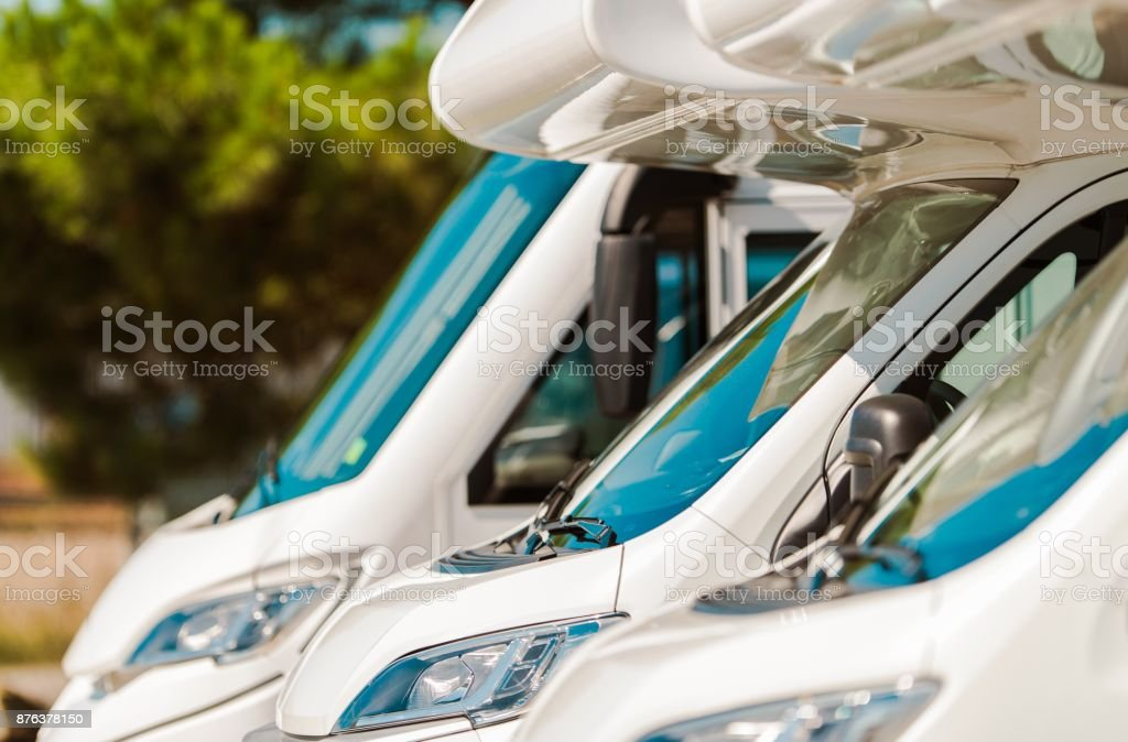 RV Motorcoaches For Sale stock photo
