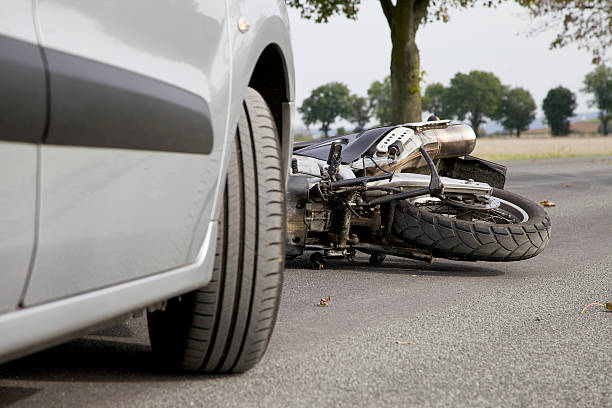 Motorcycle Accident Accident with a Car and a motorbike misfortune stock pictures, royalty-free photos & images