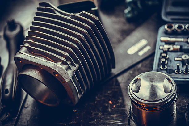 Motorcycle air-cooled cylinder stock photo