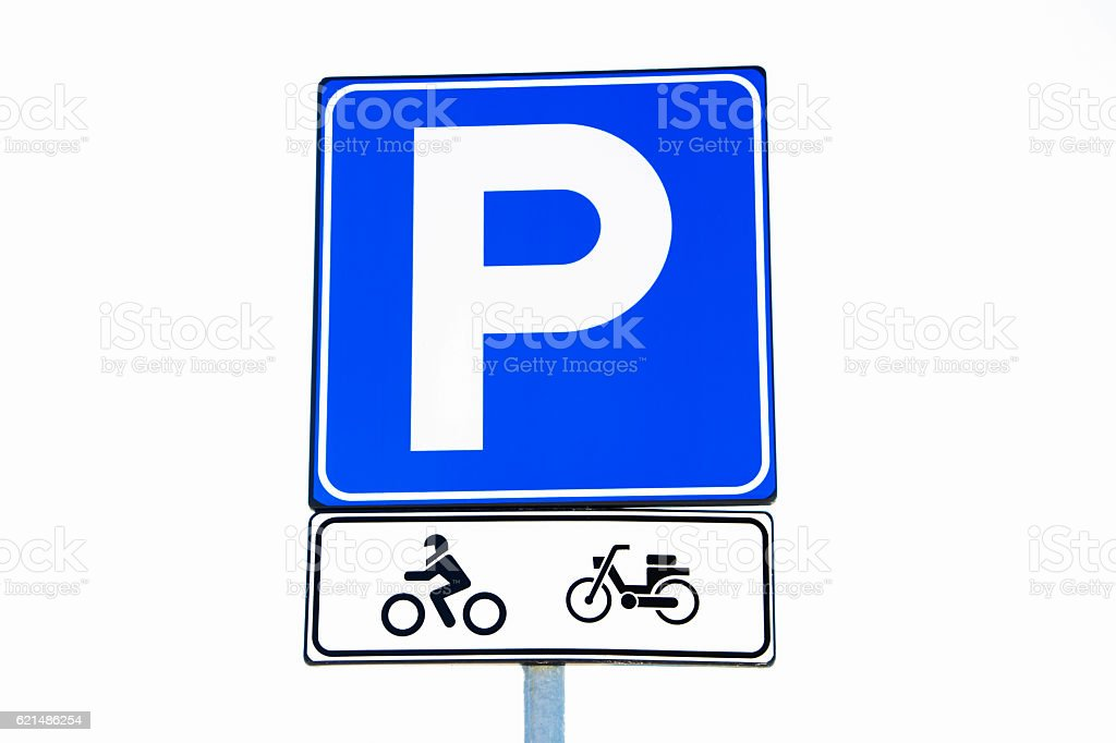 Motorcycle and bicycle parking sign photo libre de droits