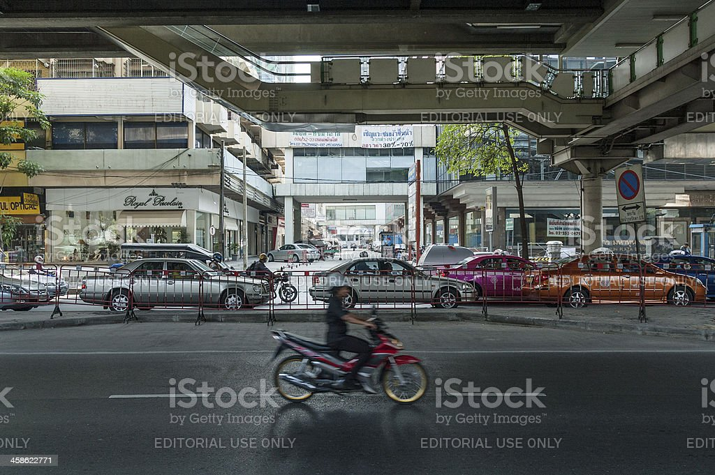 Motorcycle And Busy Traffic In Bangkok stock photo