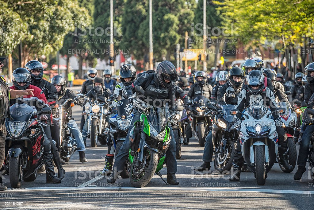 Motorcycle Arrivals stock photo