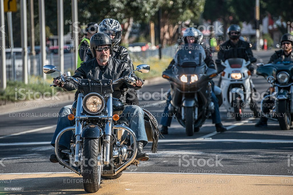 Motorcycle Arriving at Event stock photo