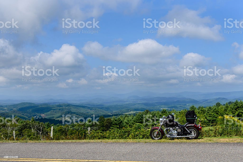motorcycle at senic outlook stock photo