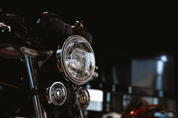 motorcycle bigbike on showroom with soft-focus and over light in the background – zdjęcie