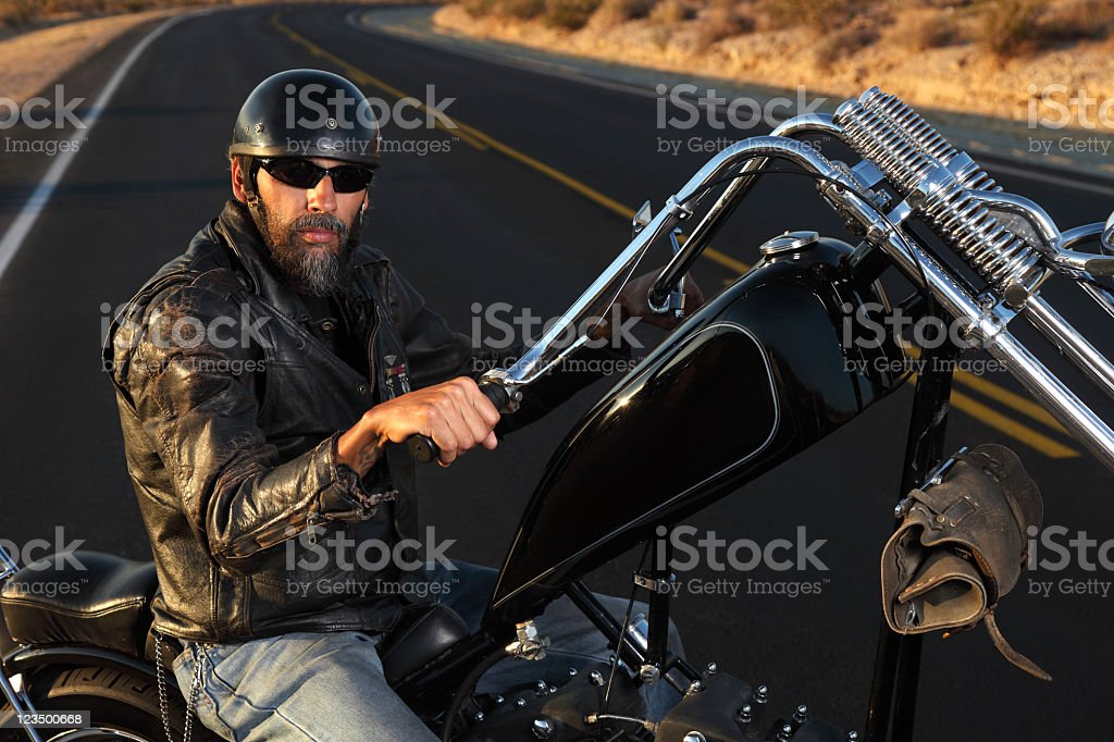 Motorcycle Biker on the Open Road stock photo