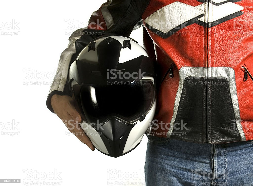 Motorcycle biker with crash helmet royalty-free stock photo