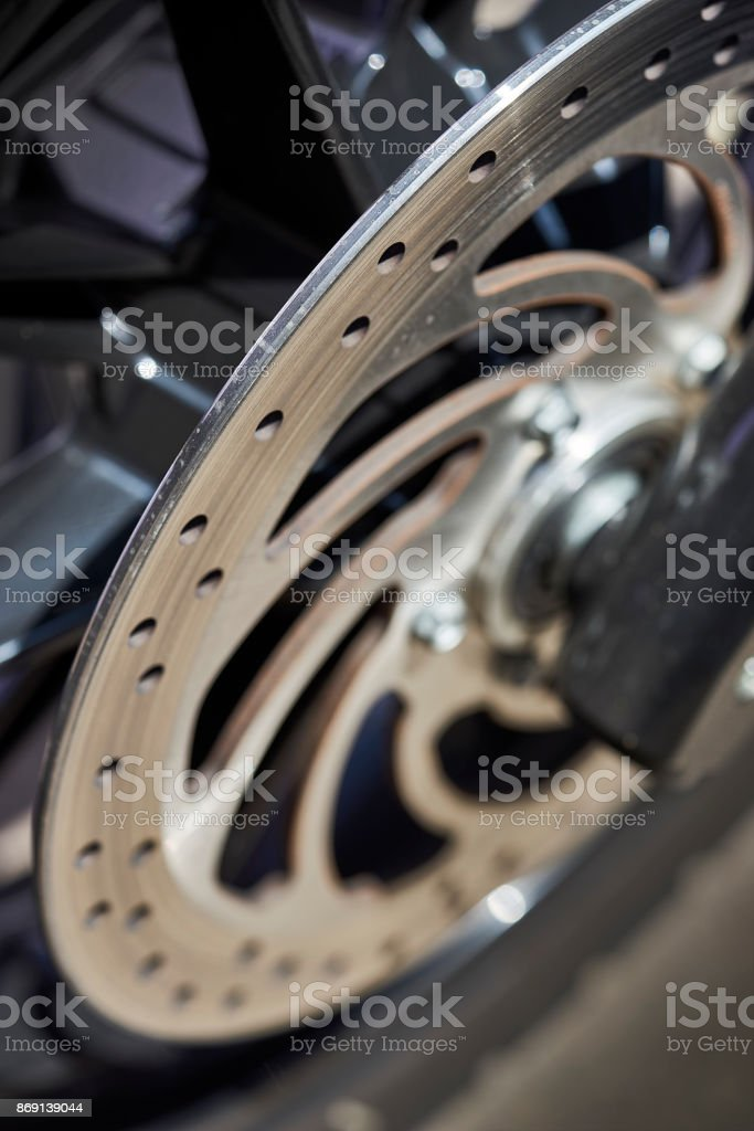 motorcycle brake components on new custom built bike stock photo
