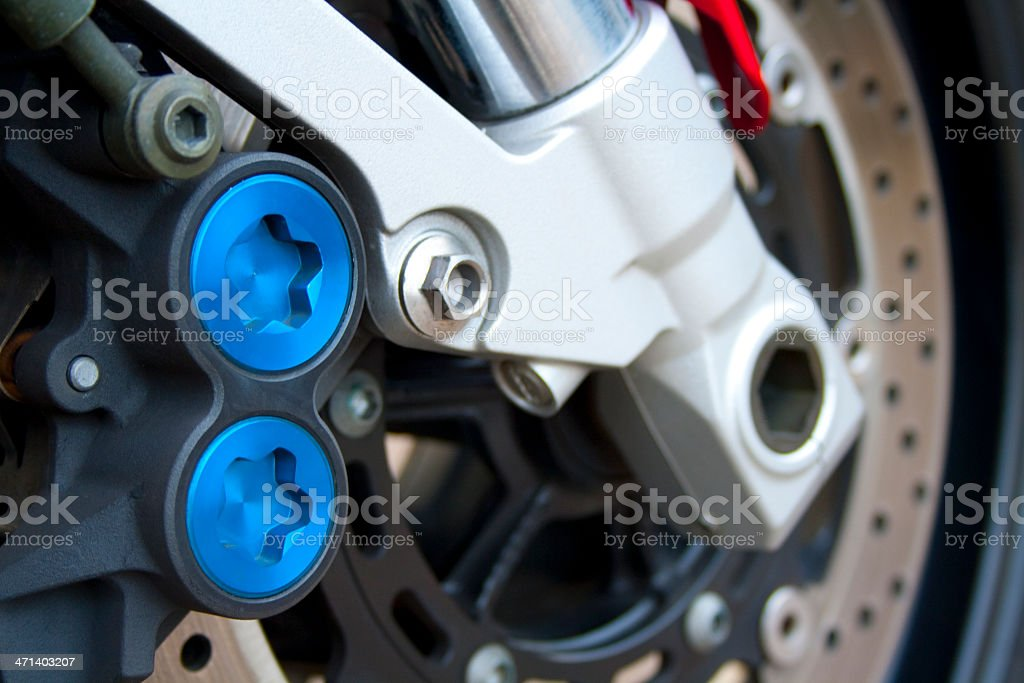 Motorcycle braking system stock photo
