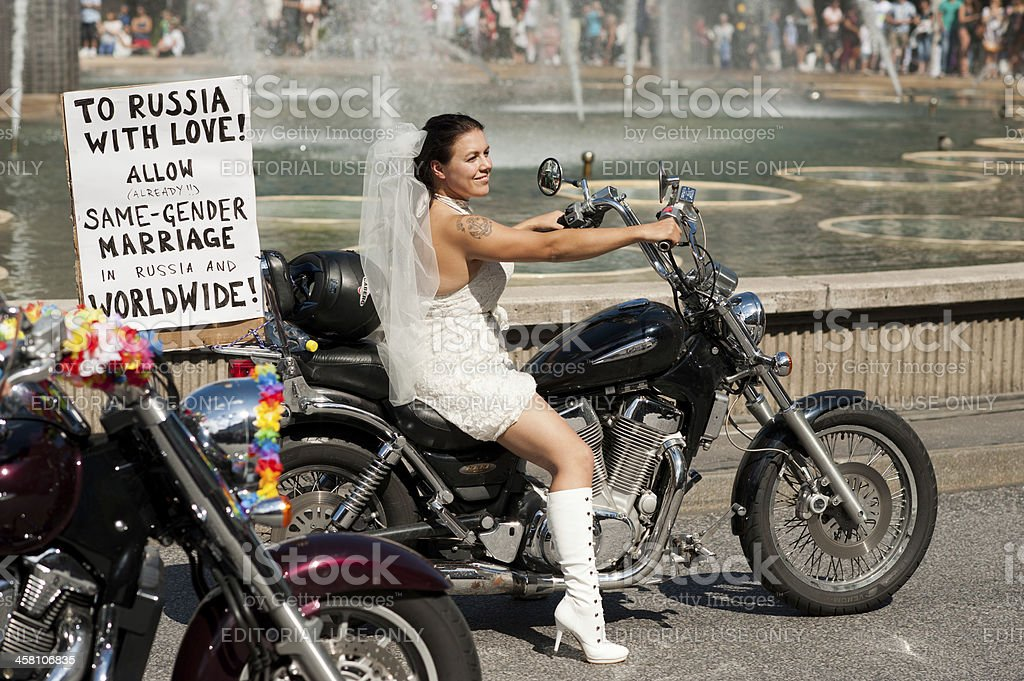 Motorcycle bride at Stockholm Pride Parade 2012 royalty-free stock photo