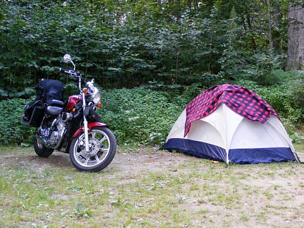 Motorcycle Camping stock photo