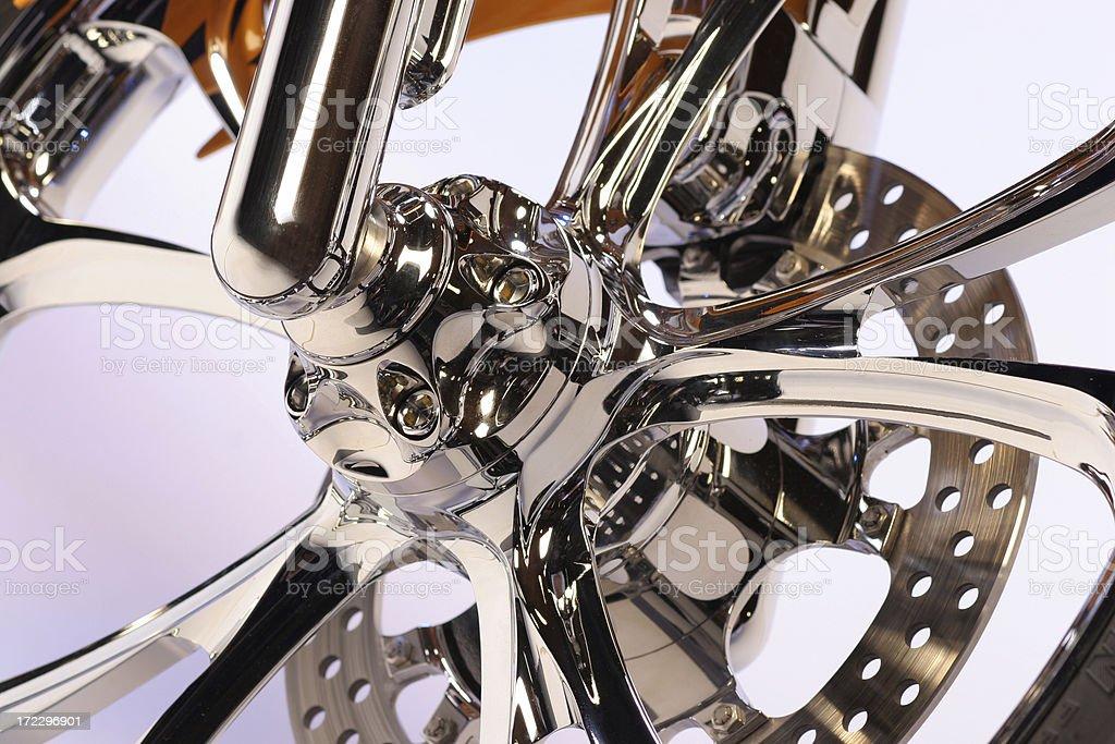 Motorcycle Chrome wheel stock photo