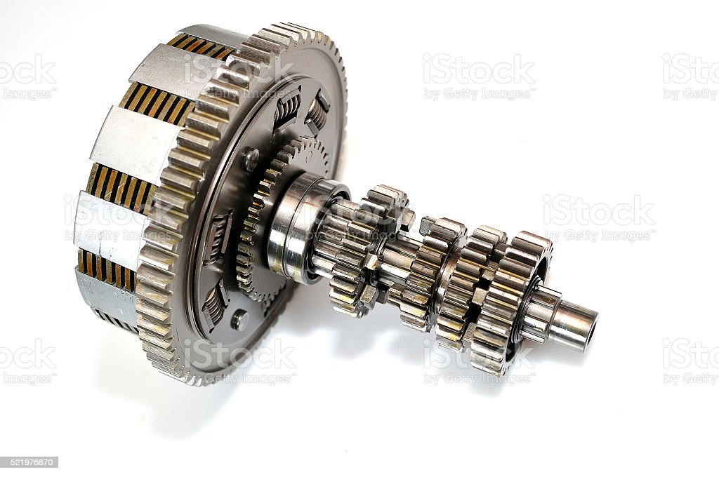 Motorcycle clutch with gears. stock photo