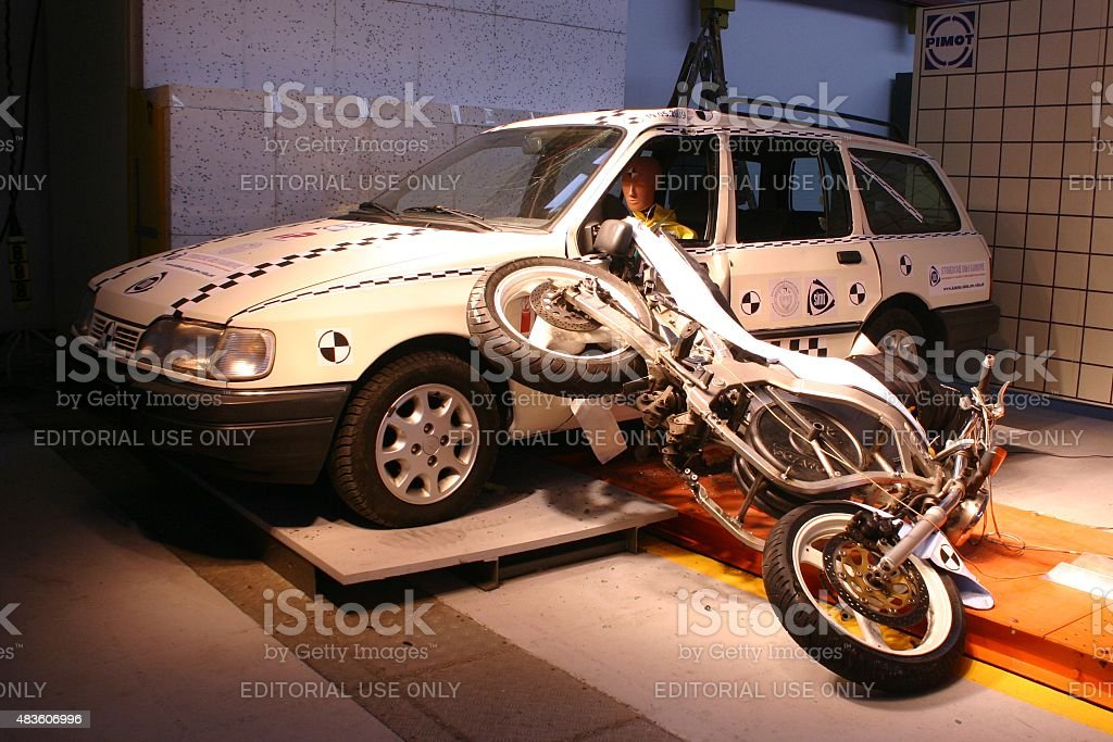 Motorcycle Crash Simulation Stock Photo & More Pictures of 2015 | iStock