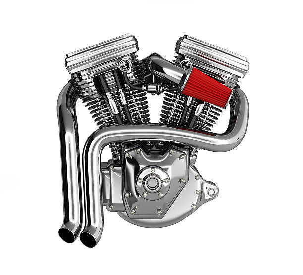Motorcycle engine v twin isolated on white background 3d stock photo