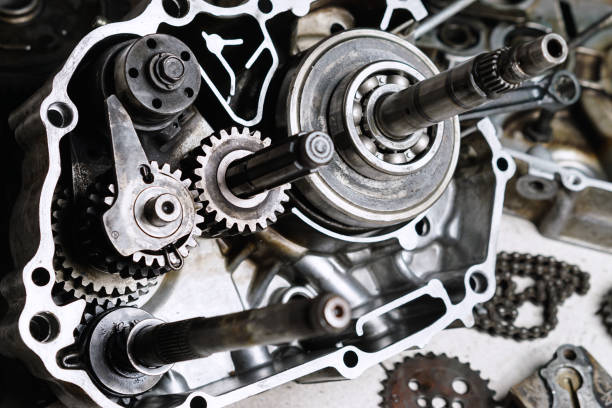 Motorcycle engine's gears and details stock photo