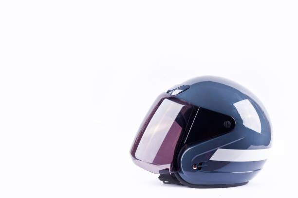 Motorradhelm auf weißem Hintergrund Helm Sicherheit Objekt isoliert – Foto