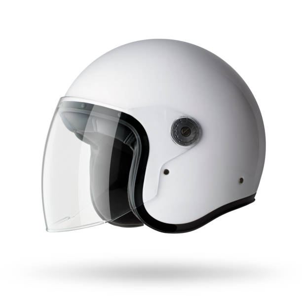 motorcycle helmet on white background - crash helmet stock photos and pictures