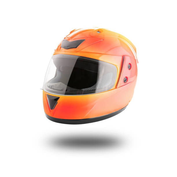 motorcycle helmet over isolate on white - helmet visor stock photos and pictures