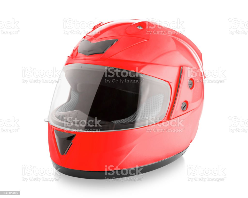 Motorcycle helmet over isolate on white - Royalty-free Bicycle Stock Photo